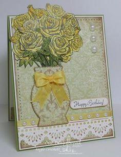 Stamps - Our Daily Bread Designs Rose Bouquet, ODBD Custom Decorative Vase Die, ODBD Custom Beautiful Borders Die
