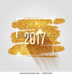 Happy New Year 2017 on the gold paint glitter shine background