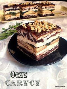 Oczy Carycy, Poland Sweet Desserts, Sweet Recipes, Delicious Desserts, Cake Recipes, Russian Desserts, Russian Recipes, Cupcake Cakes, Cupcakes, Traditional Cakes
