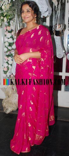 Vidya Balan attends Pankaj Kapoor's birthday bash in a lovely rani pink saree featuring with paisley motif. http://www.kalkifashion.com/