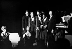 The Rat Pack, Frank Sinatra, Dean Martin, Sammy Davis Jr., Joey Bishop, Peter Lawford The Summit at the Sands, Las Vegas, during the filming of Ocean's 11, 1960