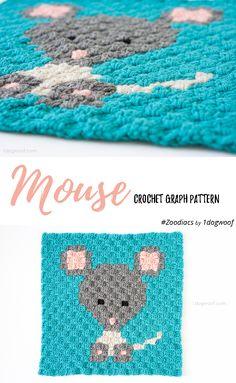 Zoodiacs mouse made using c2c crochet | www.1dogwoof.com