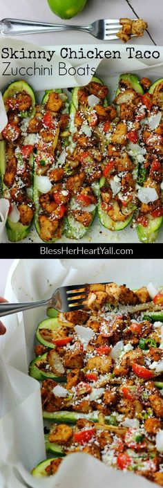 These skinny chicken taco zucchini boats are both delicious and healthy (and oh yeah!  They are easy to make!). Get the instructions here: www.BlessHerHeartYall.com