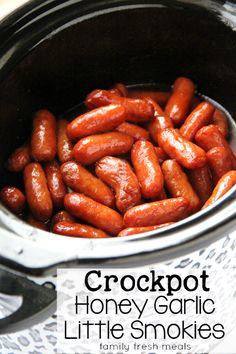 Crockpot Honey Garlic Little Smokies Sausages - FamilyFreshMeals.com - best appetizer ever!