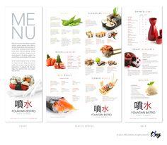 Fountain Mediterranean & Sushi Bistro | Tampa, FL A 11x17 menu with a…