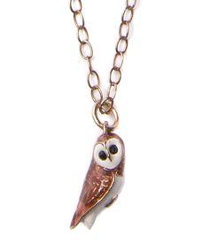 Vintage Enamel Owl Necklace
