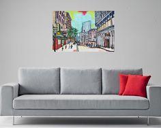 tableau peinture originale urbaine pastel San Francisco par Celinemodernart sur Etsy