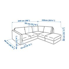 VIMLE Sectional, 4-seat corner, with open end, Gunnared dark green with open end/Gunnared dark green