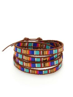 Brown Leather & Multi-Bead Wrap Bracelet by Chan Luu at Gilt
