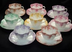 SHELLEY SET OF 8 COLLECTION TEA CUP AND SAUCER