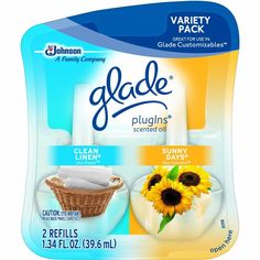 Glade Plugins Scented Oil, Clean Linen & Sunny Days Refill, Family (Pack of 10) Free Shipping