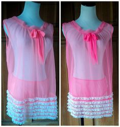 Vintage 60s Babydoll Nightie Neon Hot Pink by caligodessvintage
