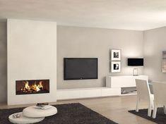 Chimenea Moderna Cooper - Home Professional Decoration Living Room Decor Fireplace, Home Fireplace, Living Room Tv, Fireplace Design, Living Room Modern, Interior Design Living Room, Home And Living, Living Room Designs, Fireplace Modern