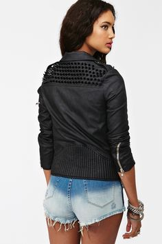 Spiked Moto Jacket - Black -- i would feel so bad *ss in this jacket!