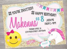 Justice Emoji Birthday Party Invitation Printable Digital Download 12th Jojo Siwa