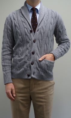 slate blue cable-knit cardigan