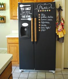 How cool is this chalkboard fridge?!