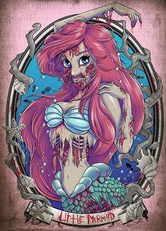 Scary Zombie Princess Art - Tattoo Ideas, Artists and Models Zombie Disney, Princesas Disney Zombie, Disney Horror, Punk Disney, Disney Fan Art, Dark Disney Art, Disney Princess Zombie, Disney Princess Tattoo, Mermaid Princess