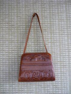 Vintage Flore's Mexican Handbag Tooled Leather by KStarkVintage