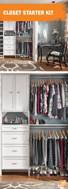 Is your closet at capacity?  Double its usability with customizable shelves from ClosetMaid. Learn more at  homedepot.ca: http://hdepot.ca/2xwhhXo Closet Hacks, Master Bedroom Closet, Walk In Closet, Home Decor Furniture, Home Renovation, Walking, Closet Storage, Closet Organization, Bedroom Decor