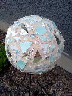 Finally finished my mosaic bowling ball gazing ball!