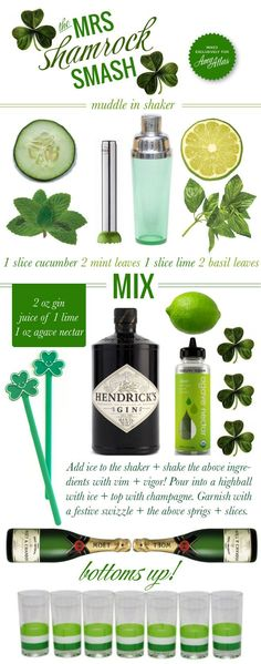 "Recipe for 'Mrs. Shamrock Smash"" (via Amy Atlas). ""Not only does this drink look festive for St. Paddy's, but we love how the recipe is bursting with fresh minty and lime flavors. Fun Cocktails, Cocktail Drinks, Alcoholic Drinks, Green Cocktails, Beverages, Holiday Drinks, Holiday Fun, Cocktail Original, Smash Recipe"