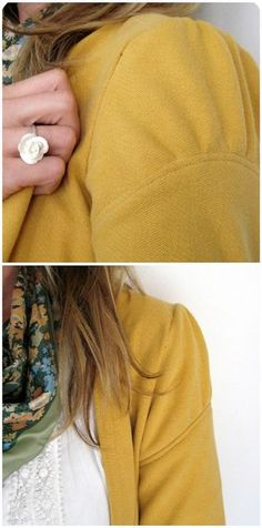 xl mens sweatshirt altered to a cardigan - sleeve detail. This could work for lengthening sleeves as well. Sewing Hacks, Sewing Tutorials, Sewing Crafts, Sewing Projects, Sewing Patterns, Techniques Couture, Sewing Techniques, Diy Clothing, Sewing Clothes