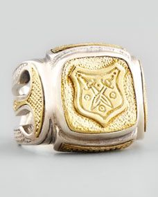 Myrmidones Mens Etched Shield Ring