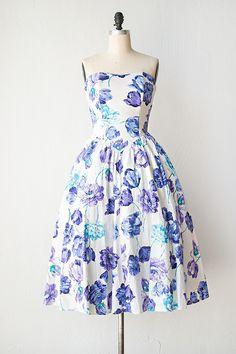 vintage 1980s blue violet tulips strapless dress