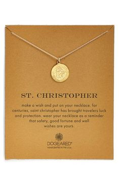Women's Dogeared 'St. Christopher' Boxed Pendant Necklace - Gold