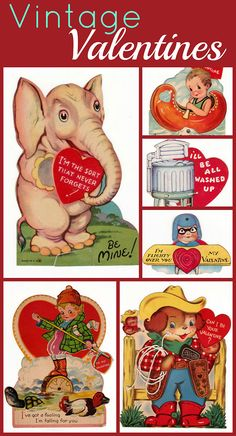 A great assortment of vintage childrens classroom Valentines, mechanical Valentines and romantic ones, all from 1930 through 1950.