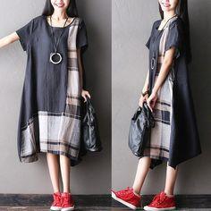 BUYKUD-Dress - Women Summer Short Sleeve Loose Cotton Linen Dress