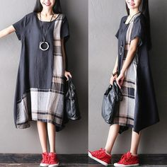 Dress - Women Summer Short Sleeve Loose Cotton Linen Dress