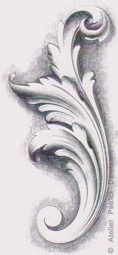 Plastika PATRICK DAMIAENS: LEAF ACANTHE | DECORATIVE důvodů | okrasné carving vzory na dřevo | V Acanthus ozdobný konstrukční