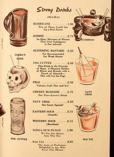 Tonga Lei - Malibu, CA Tiki drink cocktail menu. Oh to have these drinks for those prices today! Vintage Menu, Vintage Tiki, Vintage Restaurant, Menu Restaurant, Luau Food, Tiki Bar Decor, Tiki Lounge, Tiki Party, Cocktail Menu