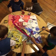 """Inspired by the works of Alexis Nieder in a series titled """"Cakes"""" Bija after schoolers requested they make a cake painting. And so, we did!"""