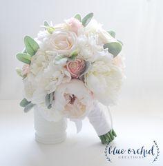 Peony Bouquet, Bridal Bouquet, Bride Bouquet, Wedding Bouquet, Silk Peony Bouquet, Blush Pink Bouquet, Beach Bouquet, White Peony Bouquet by blueorchidcreations on Etsy
