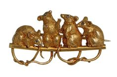 19th Century Boxed Mouse Brooch by Child and Child. Circa 1885.