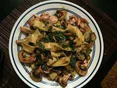 Shrimp with mint and basil pesto pasta with sauteed mushrooms. Pappardelle. from Trader Joe's. They have just regular pappadelle and  lemon and basil. YUM.