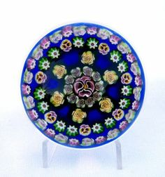 PARABELLE 1998 ARTIST PROOF PANSY ROSE CONCENTRIC OVER MIXED GROUND PAPERWEIGHT