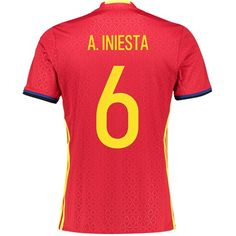 Adidas Spain Home Shirt 2016 Red with A.Iniesta 6 Spain Home Shirt 2016 - RedSupport the reigning European Champions in their defence of the coveted Henri Delaunay Trophy with the Spain Home Shirt 2016 - Red.This official Spain home jersey will be  http://www.MightGet.com/february-2017-2/adidas-spain-home-shirt-2016-red-with-a-iniesta-6.asp