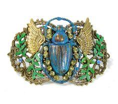Sale Egyptian Winged Scarab Cuff Bracelet by lovelandshadetree, $48.00