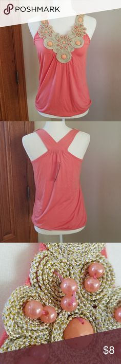 """2 for $10 Embellished Summer Top NWT, very pretty coral top with bead detail, no need for a necklace! Cute for summer. True to size. 16.5"""" pit to pit, length from top of shoulder to hem is 24.5"""". Thread on a couple of the beads is still intact, but loose, third photo. A little fraying in one spot, see fourth photo. See my closet for more 2 for $10 women's tops. Moa Moa Tops Tank Tops"""