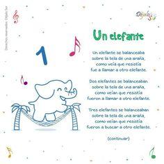 Un elefante Preschool Spanish, Spanish Lessons For Kids, Learning Spanish For Kids, Preschool Songs, Teaching Spanish, Elementary Teaching, Spanish Classroom, Classroom Ideas, Nursery Rhymes Lyrics