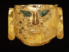 Gold Ceremonial Mask With Jade Inlay -- Circa CE -- Peru: North coast, Lambayeque region, La Leche Valley, Batán Grande, Sicán culture Middle Sicán period -- Dallas Museum of Art Historical Artifacts, Ancient Artifacts, Larp, South American History, Peruvian Art, Museum Studies, Mesoamerican, Inca, Tribal Art