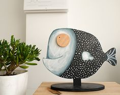 Wooden Sculpture Fish Smiling handpainted black and white unique Home decor childrens room art nursery