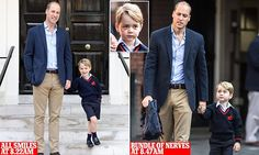 The four-year-old future king looked very smart in his new uniform, which included a blue official school jumper with red logo, blue Bermuda shorts and blue socks with laceless shoes. William Kate, Prince William Kids, Prince Carl Philip, Kate Middleton Prince William, Prince William And Catherine, Duke And Duchess, Duchess Of Cambridge, Victoria Reign, Duke