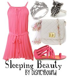 """Aurora - Sleeping Beauty"" ~ This colorful outfit was inspired by Briar Rose. Make it pink! Designed by Leslie Kay or also known as the designer of Disneybound outfits. Can be found on Polyvore or her personal shop or  tumblr account."