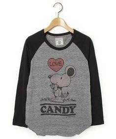 Candy Stripper(キャンディストリッパー)「プリント長袖カットソー(Tシャツ/カットソー)」|グレー