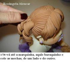 How to Make Fondant Hair Tutorial Cake Topper Tutorial, Fondant Tutorial, Doll Tutorial, Fimo Polymer Clay, Polymer Clay Projects, Clay Crafts, Cake Decorating Techniques, Cake Decorating Tutorials, Fondant Figures